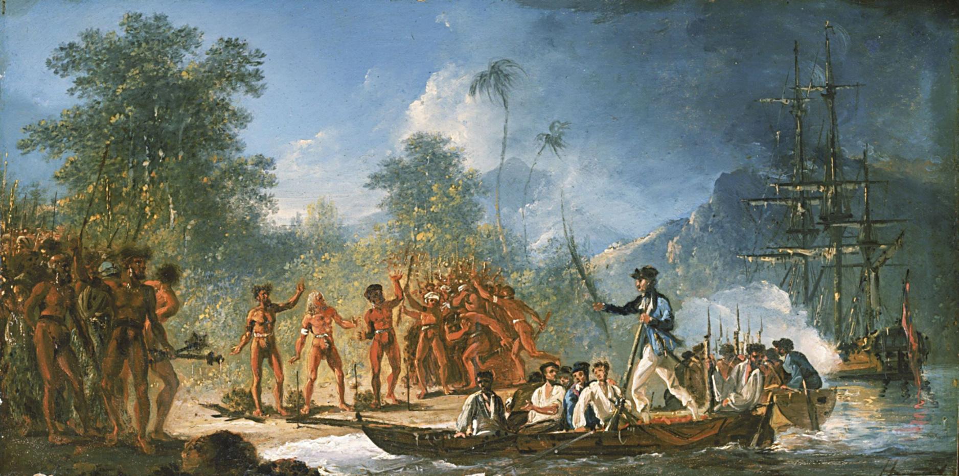Cette peinture de William Hodges représente le capitaine Cook et ses hommes abordant sur les côtes de l'île de Tanna. L'accueil ne fut pas hostile, mais les Britanniques ne purent jamais monter sur le volcan qui était alors sacré et tabu.