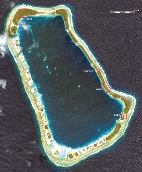 L'atoll de Temoe et les zones étudiées en 2010 et 2013.