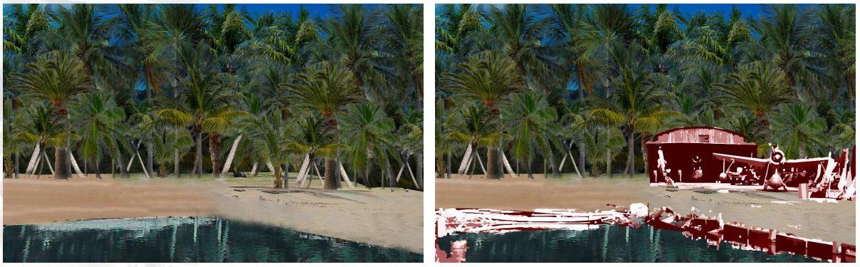 Exemple de représentation graphique en motion design 2D sur une vue réelle de Bora Bora.