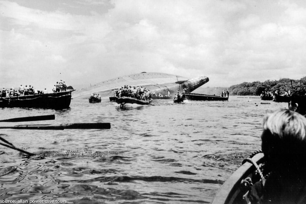 A ce moment-là, les Américains ont compris que contrairement à ce qu'ils pensaient, le bateau ayant chaviré allait complètement couler avec toute sa précieuse cargaison.