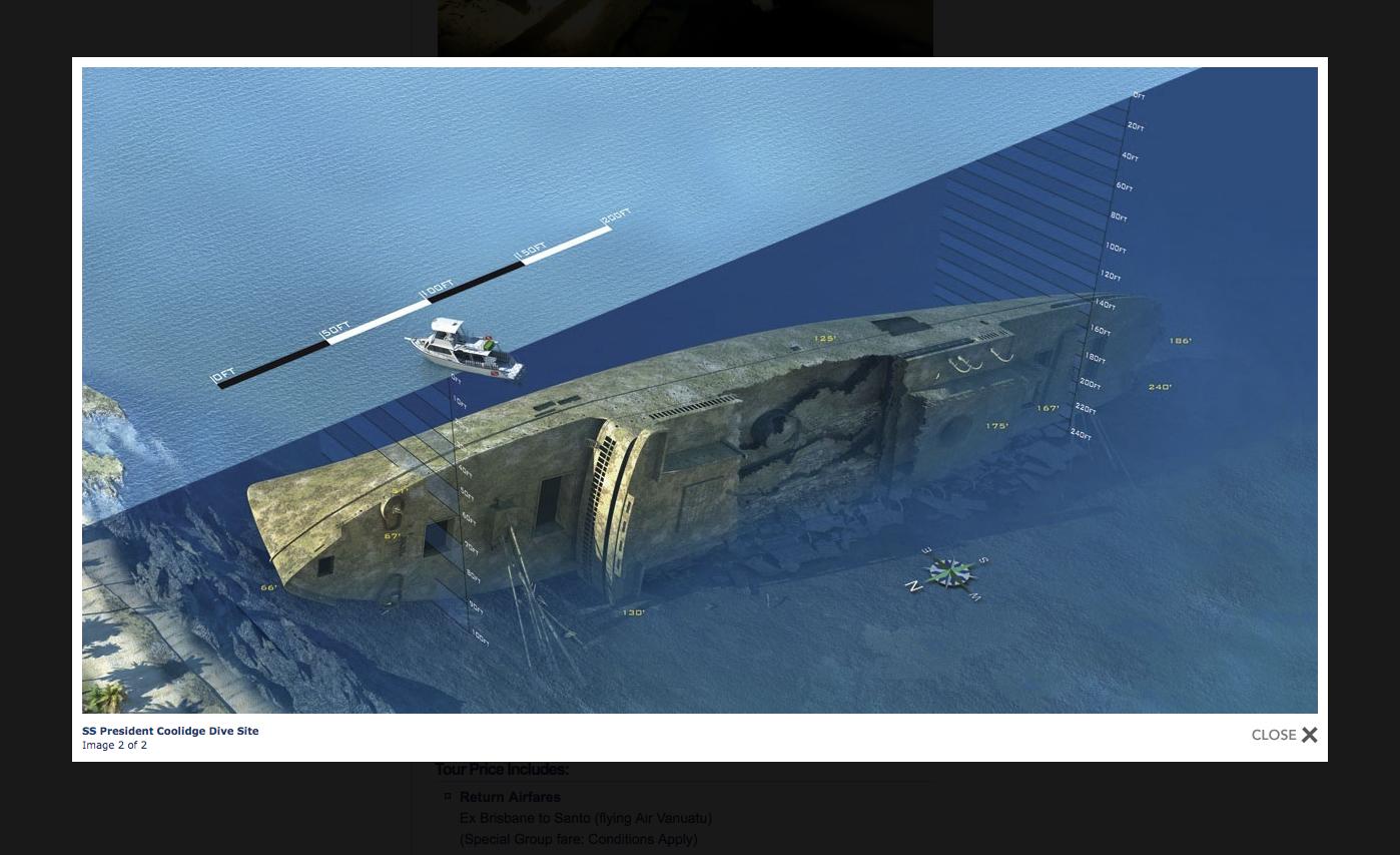 Cette illustration montre la position du paquebot devant la côte de Santo ; il a chaviré le long du tombant séparant le chenal navigable (en bleu foncé) du récif frangeant (en bleu clair).
