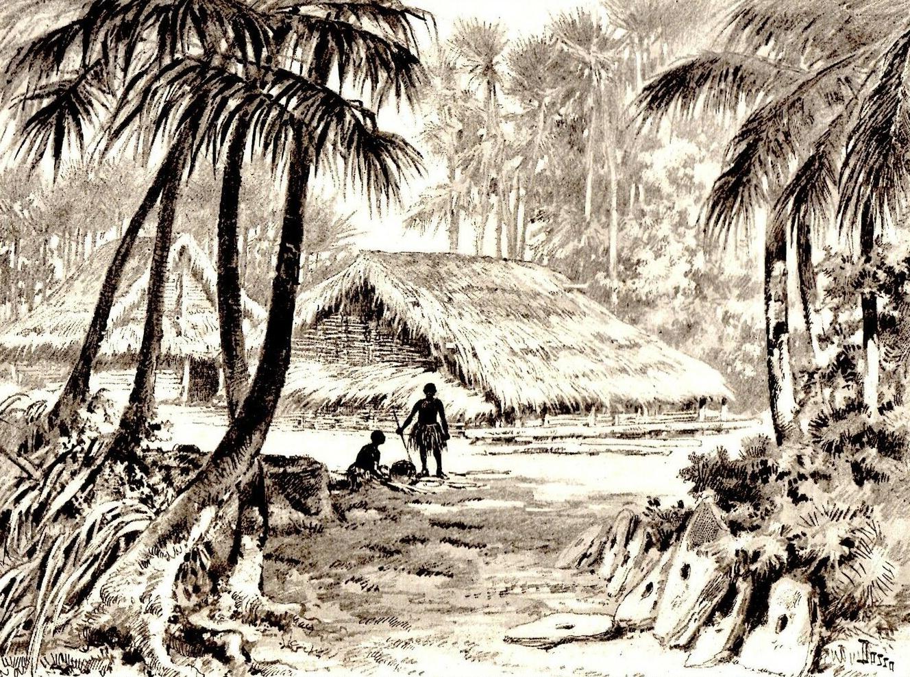 C'est dans ce type de village que les habitants de Sapwuahfik  vivaient tranquillement lors de l'arrivée du capitaine Hart.