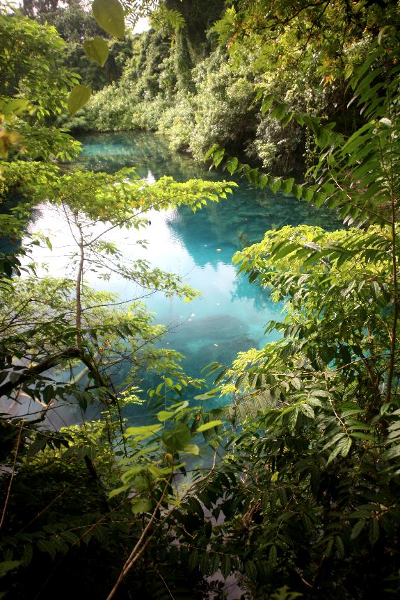 Magie du Nanda Blue Hole, sur le chemin menant de Luganville à Port Olry. La profondeur maximum des trous bleus serait d'une vingtaine de mètres. L'endroit est très apprécié des baigneurs et des apnéistes.