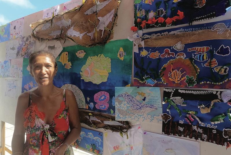 Le travail des élèves de l'école Puohine qui se sont exprimés sur le thème de la protection des océans était exposé lors de cette Fête de la mer.