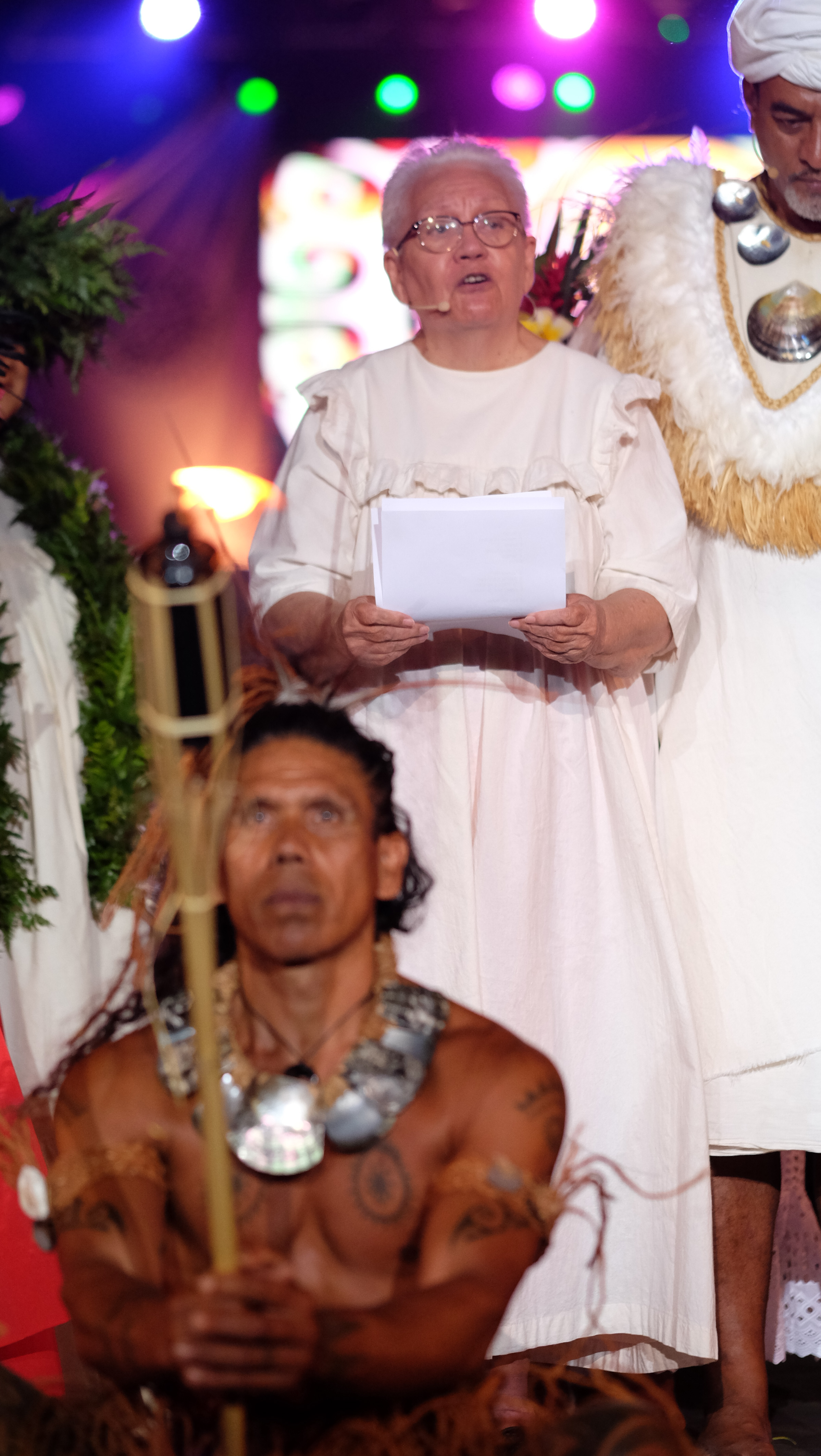 L'oratrice Flora Devatine, directrice de l'Académie tahitienne.