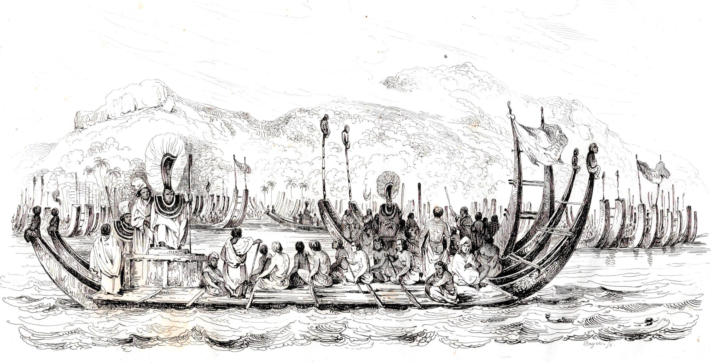 Flotte de pirogues doubles à Tahiti, une gravure qui a été copiée de très nombreuses fois.