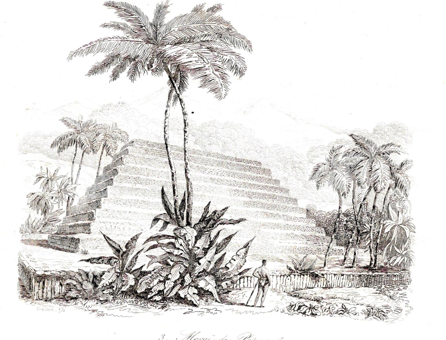 Le marae de Papara tel qu'il était lors de la découverte de Tahiti par les Européens.