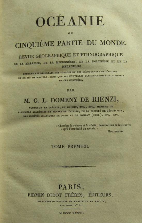 La première page des tomes consacrés à l'Océanie, au total 1 440 pages et un peu plus de 300 gravures.
