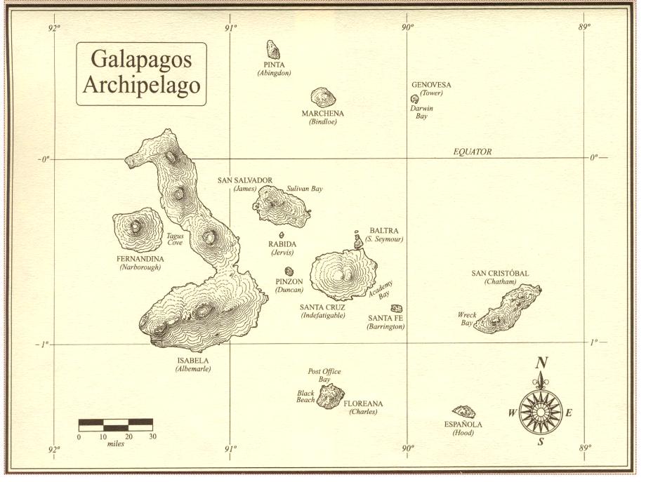 Une ancienne carte des Galápagos. Floreana se situe dans l'extrême sud de l'archipel.