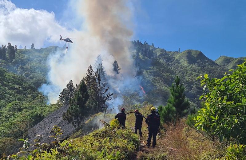 Vaste opération sur un feu de brousse à Punavai Nui