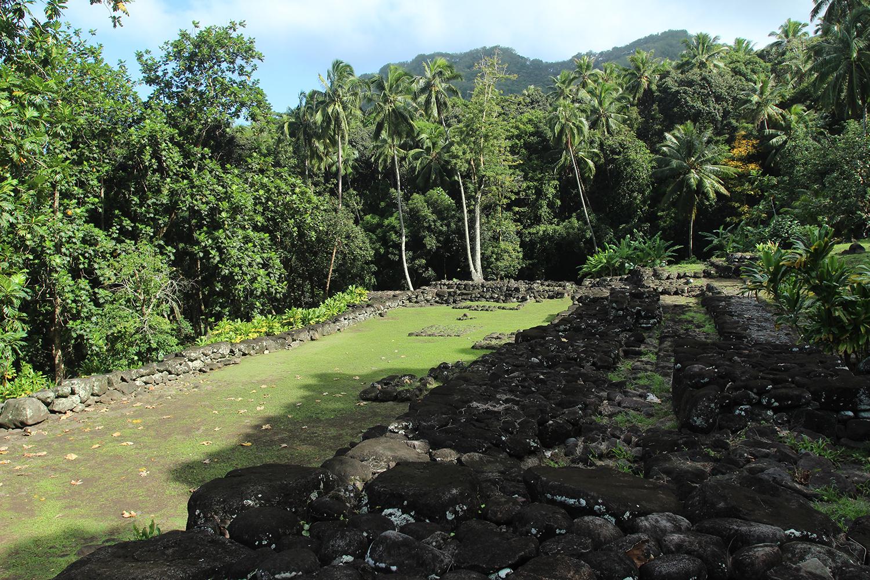 Le site de Upeke, au-dessus de Taaoa, avec son vaste espace où devraient se produire des artistes locaux pour la visite présidentielle.