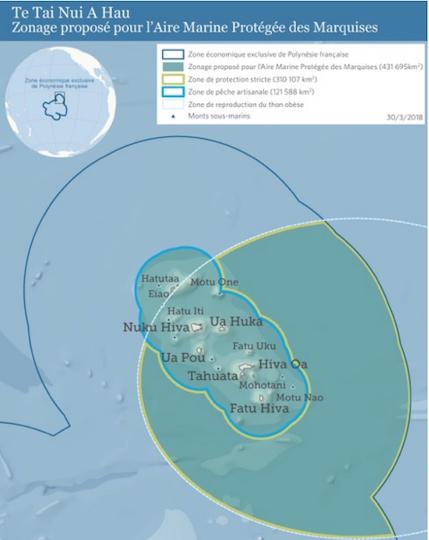 Le zonage du projet d'AMP. Si le projet est accepté par le Pays, il sera proposé au gouvernement national qui l'a déjà approuvé verbalement. Il restera ensuite à réfléchir à la surveillance des pêches au sein de l'AMP.