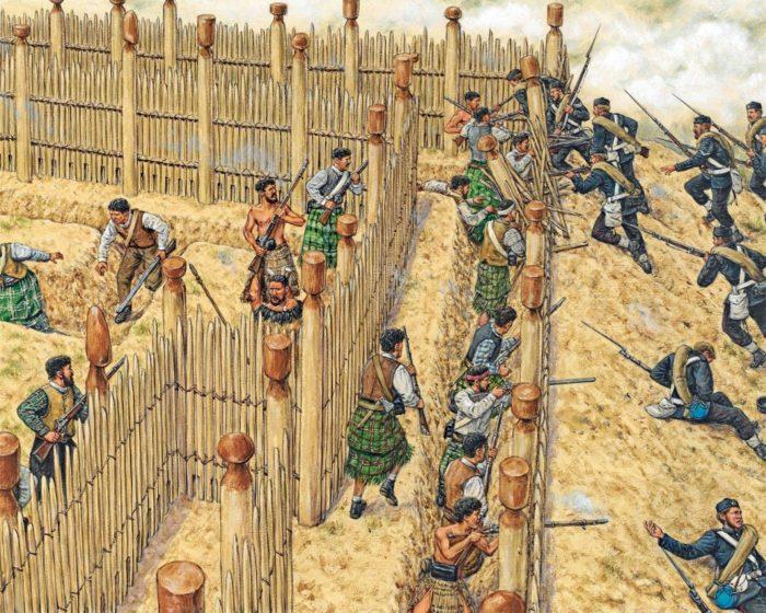 Britanniques et Maoris luttèrent de nombreuses années avant que la domination des premiers ne l'emporte sur les seconds.