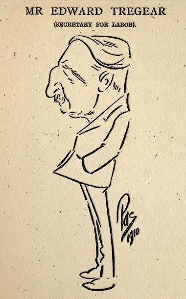 Compte tenu de ses prises de position très à gauche lorsqu'il était au ministère du Travail, Tregear a évidemment fait l'objet de nombreuses caricatures dans la presse de l'époque.
