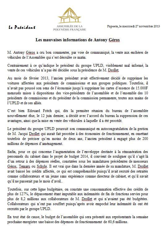 Budget APF 2014: la réponse d'Edouard Fritch à Antony Géros