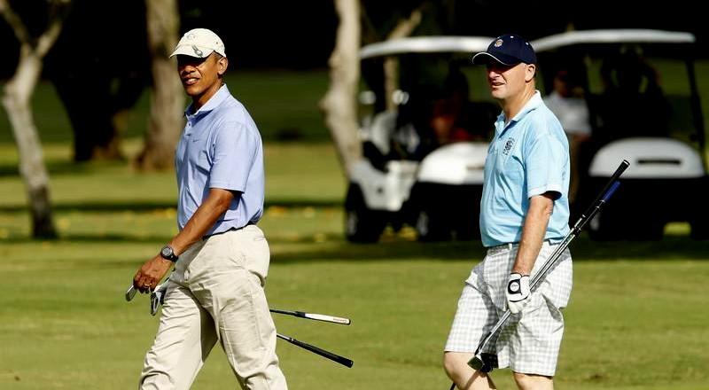 La fameuse partie de golf entre Barack Obama et le Premier ministre néo-zélandais John Key.