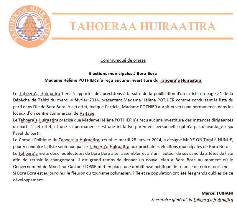Communiqué Tahoeraa Huiraatira: Elections municipales à Bora Bora Madame Hélène POTHIER n'a reçu aucune investiture du Tahoera'a Huiraatira