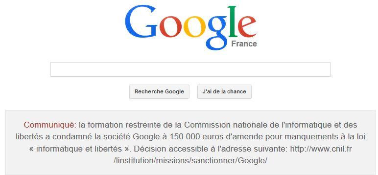 Google a publié l'annonce de la sanction de la Cnil sur sa page google.fr
