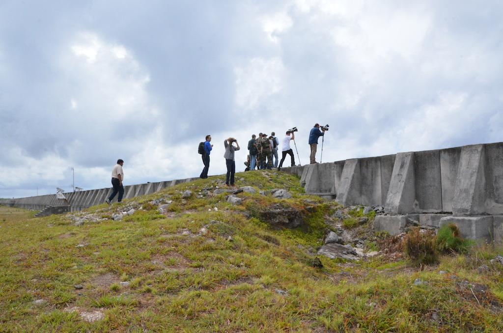 Lors du voyage de presse à Moruroa, jeudi 13 février