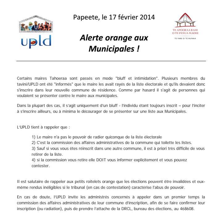 """Communiqué de l'UPLD: """"Alerte orange aux Municipales !"""""""