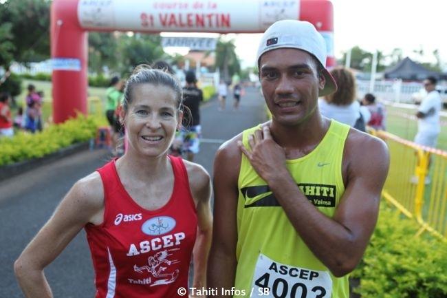 Athlétisme - Winsy Tama et Karine Voiturin gagnent la course de la Saint Valentin main dans la main