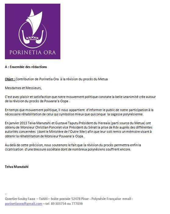 """Communiqué de Porinetia Ora: """"Contribution de Porinetia Ora  à la révision du procès du Metua """""""