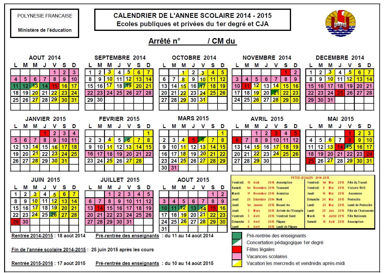 Les calendriers scolaires 2014-2017 à télécharger