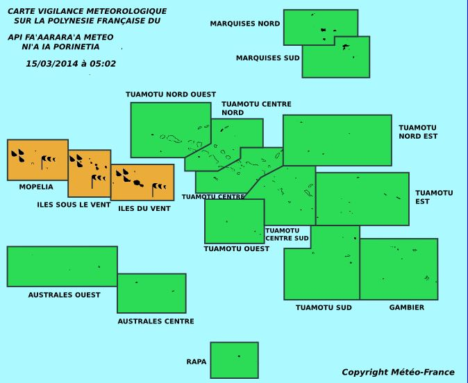 Vigilance météo: Alerte orange en cours sur les îles de la société