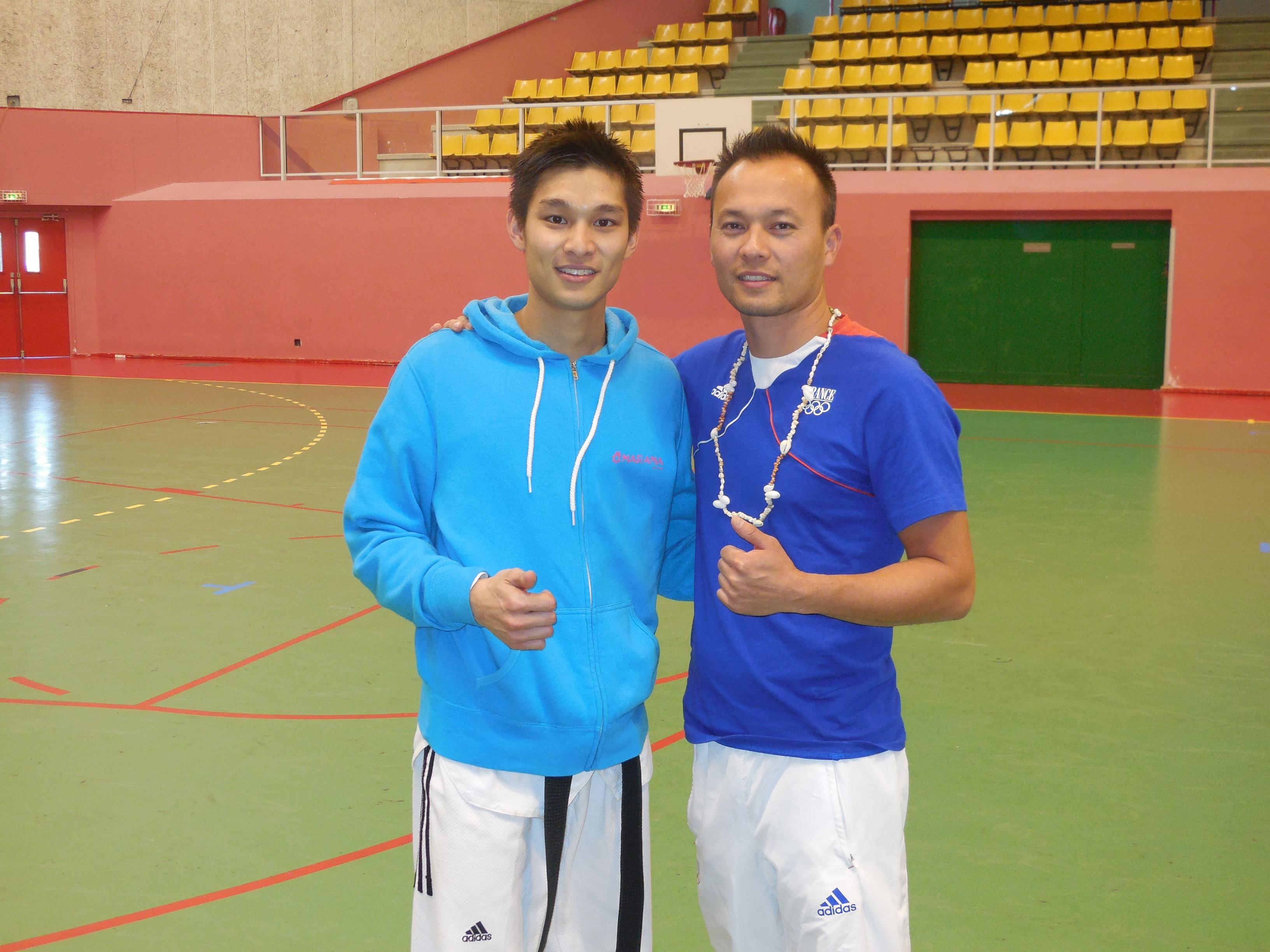 Teddy TENG en compagnie de Ludovic VO (Entraineur de l'Equipe de France Olympique de Taekwondo et double champion du Monde).