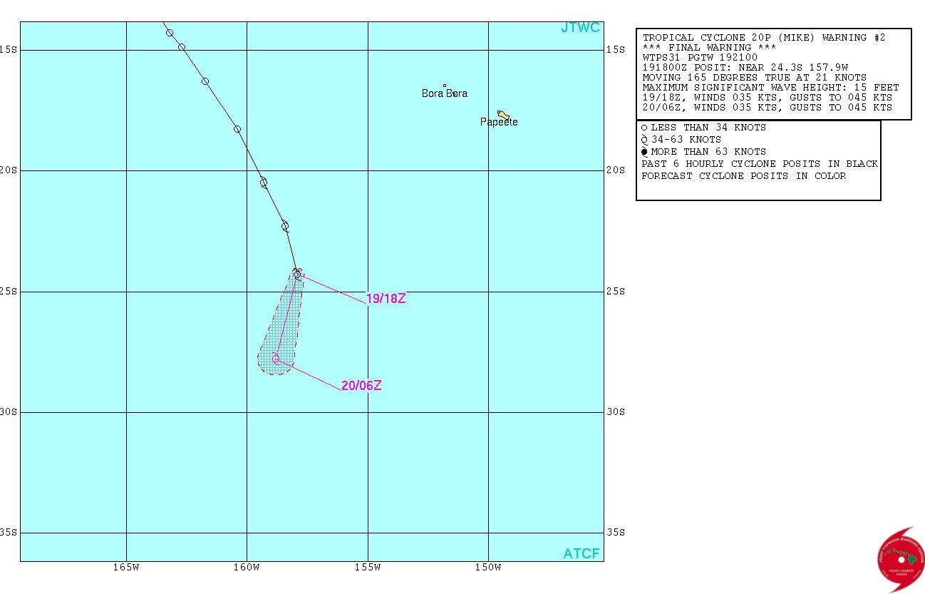 Mike, une tempête tropicale qui progresse aux îles cook