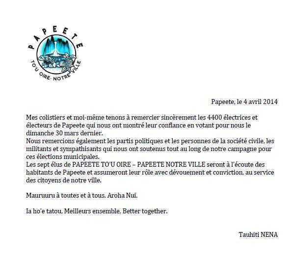 Communiqué: les remerciements de Tauhiti Nena