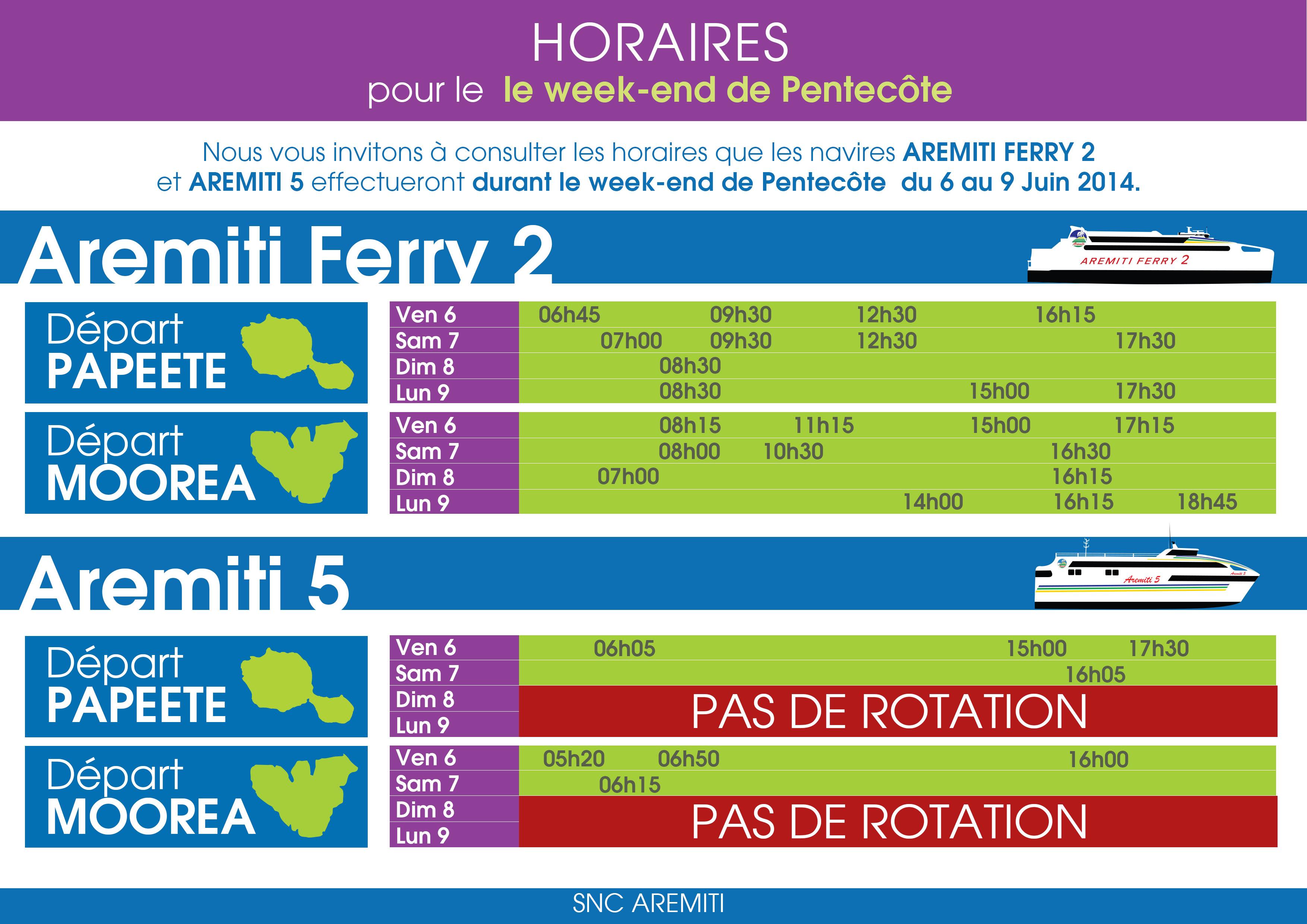 horaires du navire aremiti ferry 2 et aremiti 5 week end. Black Bedroom Furniture Sets. Home Design Ideas