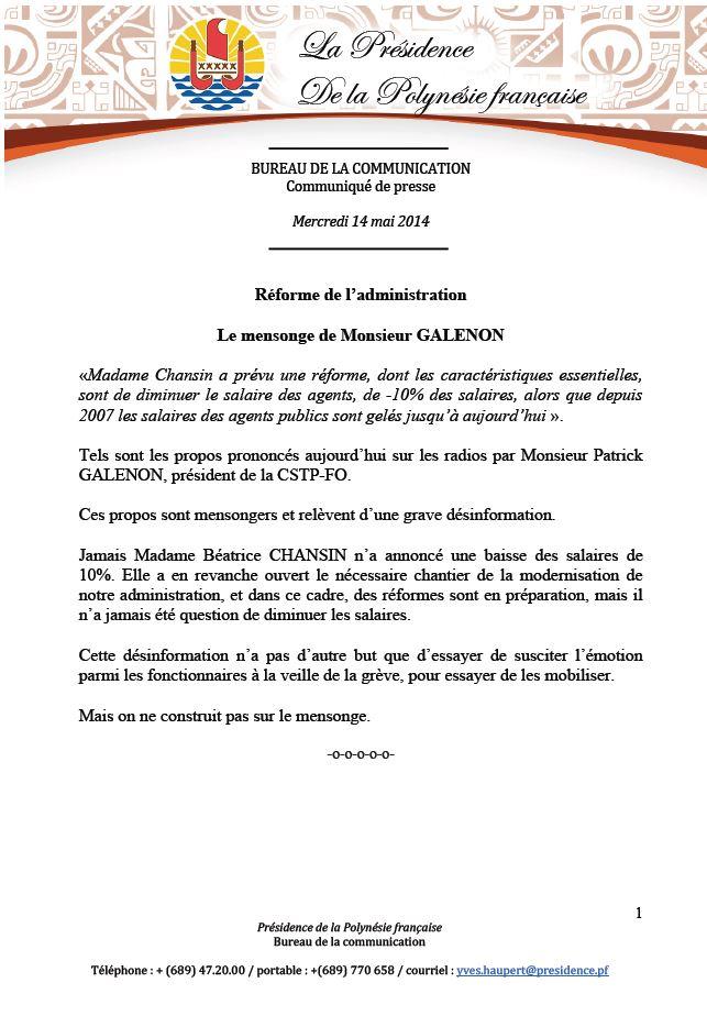 Réforme de l'administration:   Le mensonge de Monsieur Galenon ( communiqué de la Présidence)