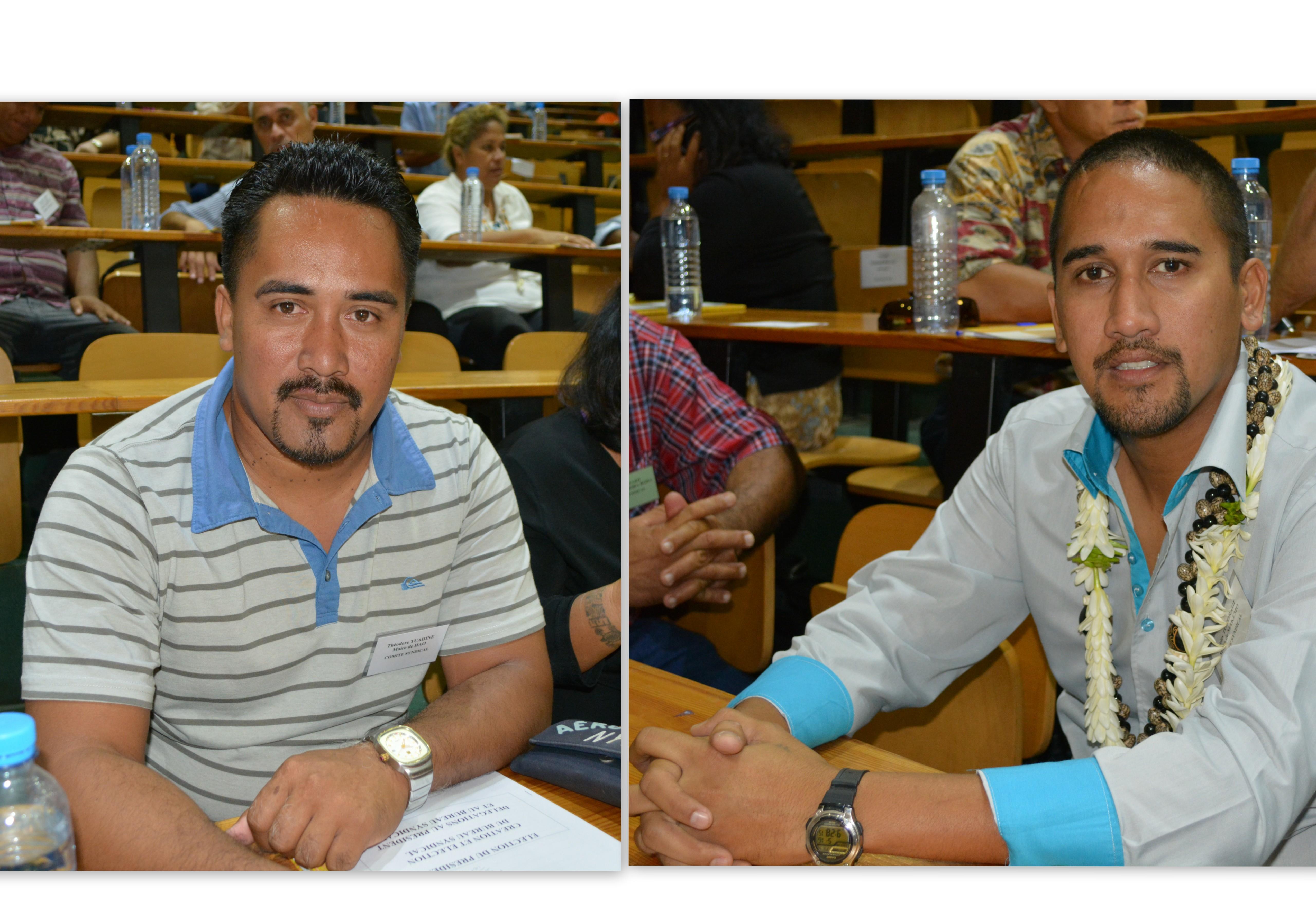 A gauche, Théodore Tuahine, le maire de Hao ; à droite Félix Tokoragi, le maire de Makemo.