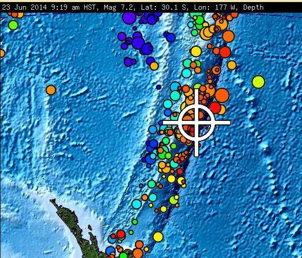 Séisme de magnitude de 6.9 au large des Isles Kermadec de la Nouvelle Zélande