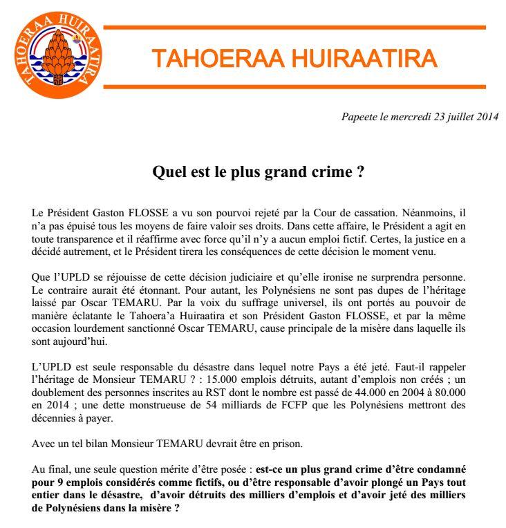 """Communiqué Tahoeraa: """"Quel est le plus grand crime?"""""""