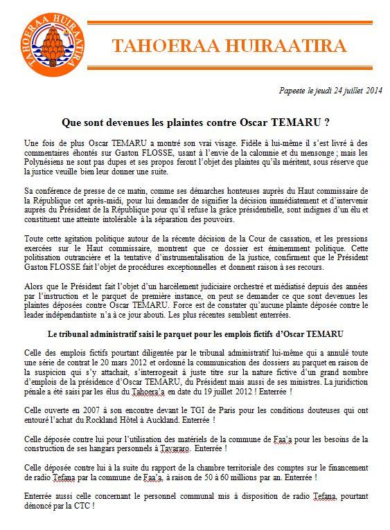 "Communiqué du Tahoeraa: ""Que sont devenues les plaintes contre Oscar Temaru?"""