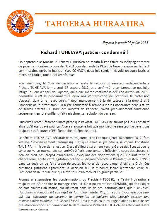 "Communiqué du Tahoeraa:"" Richard TUHEIAVA justicier condamné !"""