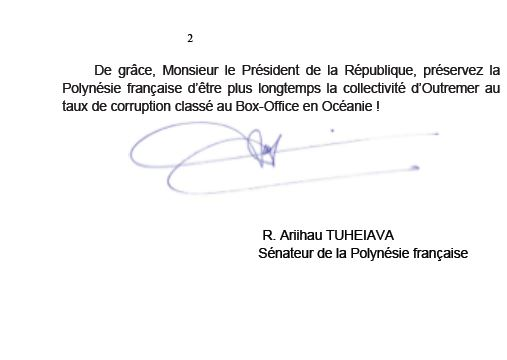 Le sénateur Tuheiava répond au Tahoeraa