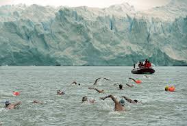 Des nageurs de l'extrême s'affrontent au pied d'un glacier de Patagonie