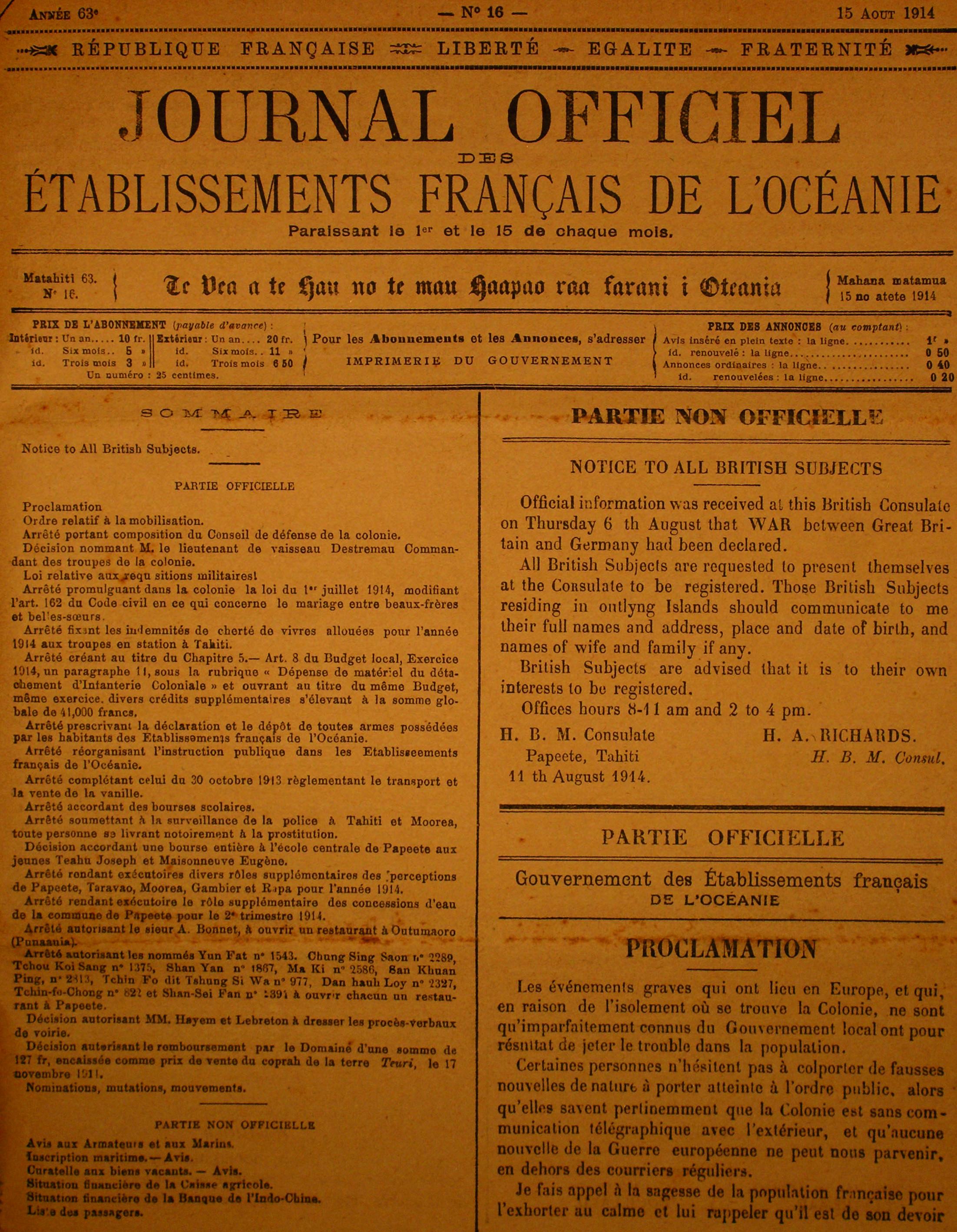 Centenaire de la Grande Guerre : le 11 août 1914, la Polynésie française se mobilisait