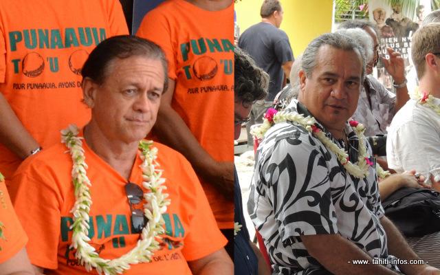 Heremoana Maamaatuaiahutapu (Culture, Environnement, Communication) et Patrick Howell (Santé et Solidarité), deux nouveaux ministres d'Edouard Fritch frappés d'incompatibilité avec leurs fonctions précédentes.