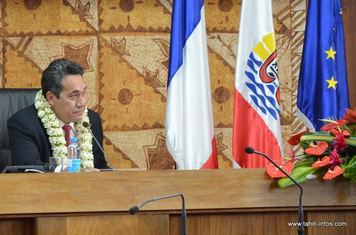 Marcel Tuihani, lundi 15 septembre 2014 après son élection à la présidence de l'Assemblée de Polynésie française