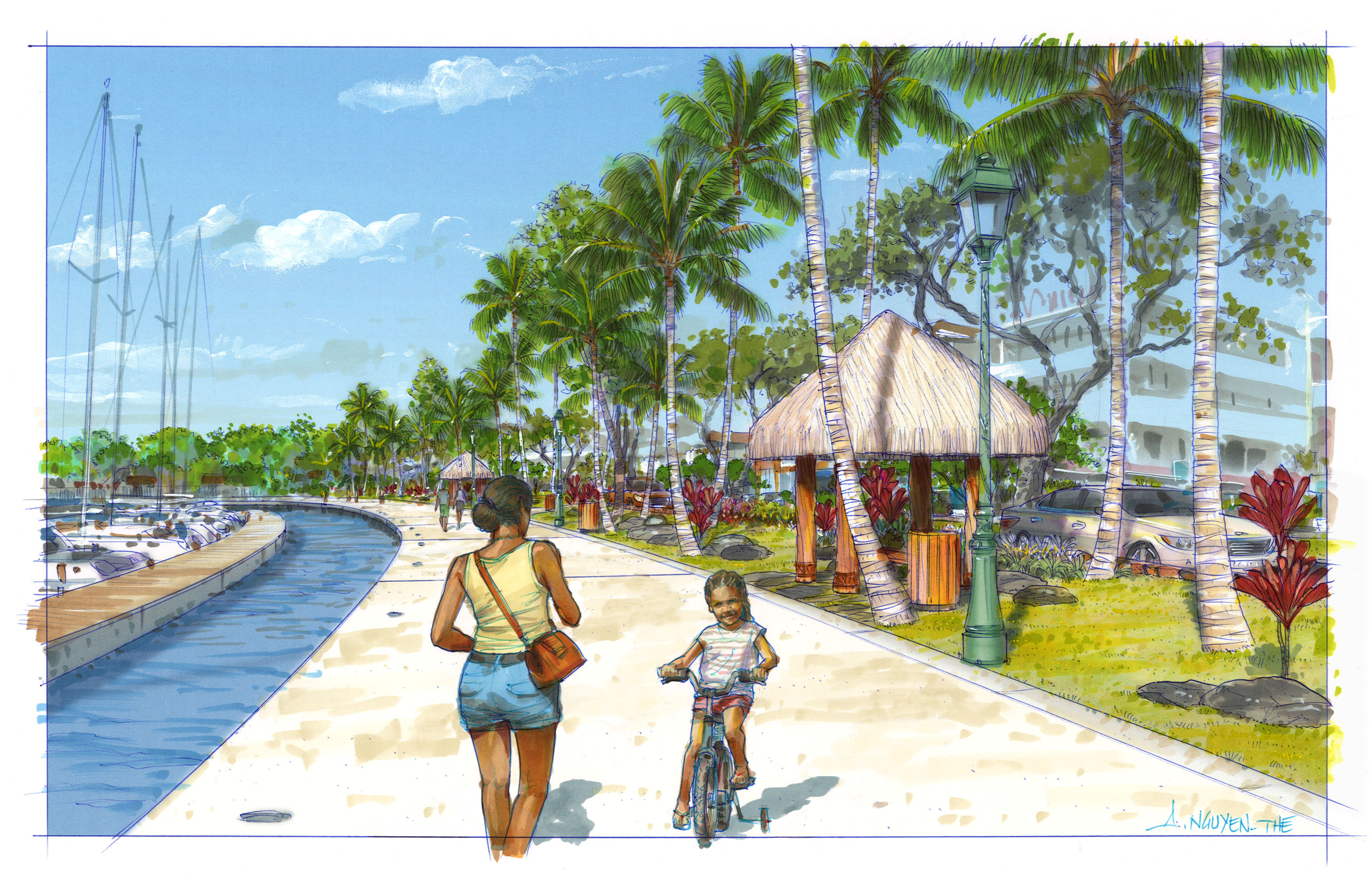 L'aménagement de la nouvelle marina va ouvrir une nouvelle promenade de 700 mètres de long, entre mer et eau, du rond-point Jacques Chirac au parking du quai des ferries.