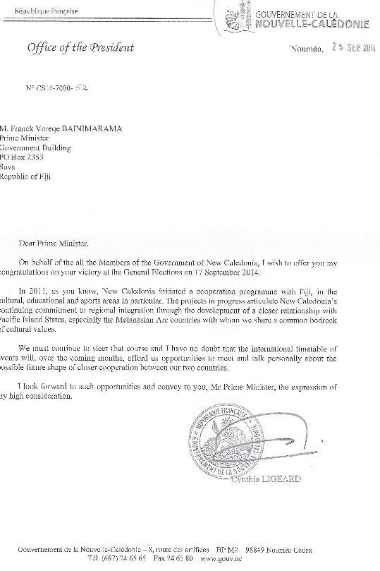 La Nouvelle-Calédonie veut renforcer sa coopération avec Fidji