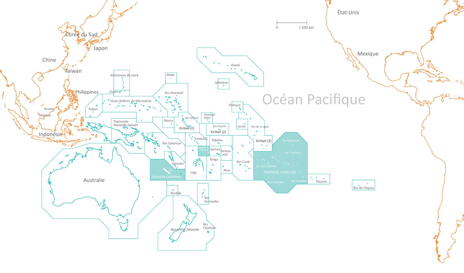 La Nouvelle-Calédonie, Wallis et Futuna, la Polynésie française : ces trois minuscules territoires français au milieu du Pacifique ont la particularité de représenter 62% de la ZEE française. La région dispose de ressources naturelles exceptionnelles, qui constituent pour certaines d'entre elles, la base des technologies de demain.