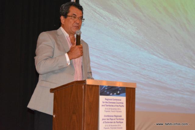 Edouard Fritch, le président de Polynésie française à l'ouverture de la conférence de coopération des PTOM du Pacifique.