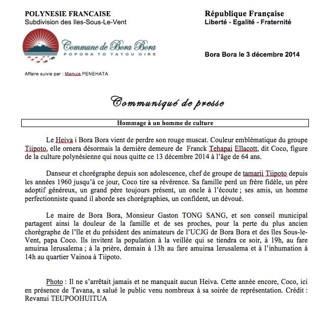 Décès de Franck Ellacott, dit Coco : condoléances du maire de Bora Bora  et du gouvernement
