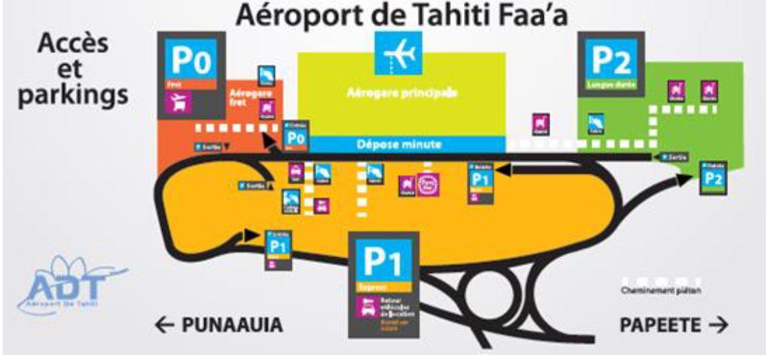 Le plan des stationnements de l'aéroport de Tahiti Faa'a. A droite, le P2 longue durée dont le prix de stationnement dégressif est intéressant à partir de deux jours sur place.