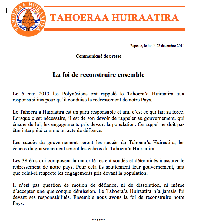 Communiqué du Tahoeraa: la foi de reconstruire ensemble